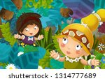 cartoon scene with caveman... | Shutterstock . vector #1314777689