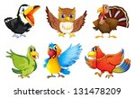 Stock photo illustration of the different kinds of birds on a white background 131478209