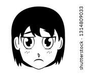 face girl anime manga comic | Shutterstock .eps vector #1314809033