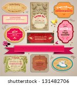 set of vintage stickers  cards... | Shutterstock .eps vector #131482706