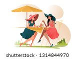 flat young girl friends in cafe ... | Shutterstock .eps vector #1314844970