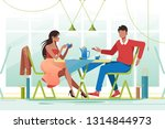 flat young romantic couple in... | Shutterstock .eps vector #1314844973