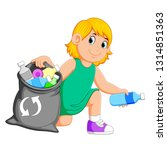 woman collecting rubbish | Shutterstock . vector #1314851363