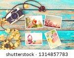 retro camera and paper photo...   Shutterstock . vector #1314857783