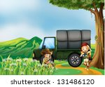 illustration of a girl and aboy ... | Shutterstock . vector #131486120