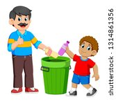 father and his son collecting... | Shutterstock .eps vector #1314861356