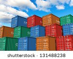 stacked cargo containers in... | Shutterstock . vector #131488238