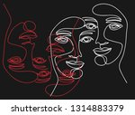 continuous line  drawing of set ...   Shutterstock .eps vector #1314883379
