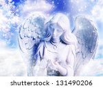 a statue of angel over a spring ... | Shutterstock . vector #131490206
