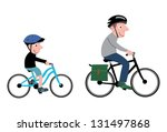 Little Boy And Man With Cyclin...