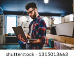 bearded hipster guy holding... | Shutterstock . vector #1315013663