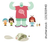 animal,boy,car,cartoon,characters,children,flip flops,fun,girl,humor,illustration and painting,staring,vector