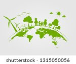 ecology tree on earth cities... | Shutterstock .eps vector #1315050056