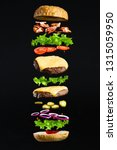 floating burger isolated on... | Shutterstock . vector #1315059950