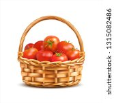 basket with red ripe tomatoes... | Shutterstock .eps vector #1315082486