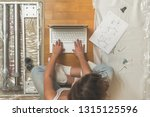 female with laptop and... | Shutterstock . vector #1315125596