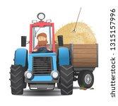 a bearded farmer in a tractor.... | Shutterstock .eps vector #1315157996