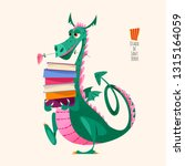 dragon carries a large stack of ... | Shutterstock .eps vector #1315164059