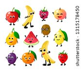 cartoon funny fruits. happy... | Shutterstock .eps vector #1315178450