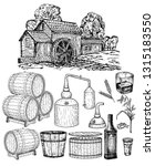 Distillery. Vector hand drawn whisky production elements. Whiskey production process. Making alcohol inside distillery, destilling spirits sketch. Distillery big set. Wooden barrel with whiskey.
