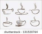 different drink cups hand drawn ... | Shutterstock .eps vector #131520764