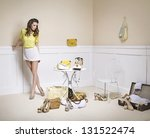 elegant lady in a room full of... | Shutterstock . vector #131522474