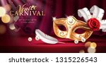 beads and golden mask at mardi... | Shutterstock .eps vector #1315226543