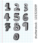 numbers from 0 to 9 over paper... | Shutterstock .eps vector #131523059