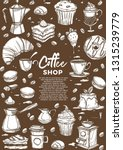 hot drinks and desserts coffee... | Shutterstock .eps vector #1315239779