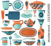 ceramic crockery. home kitchen...   Shutterstock .eps vector #1315243400
