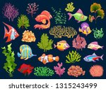 cute kid underwater set.... | Shutterstock .eps vector #1315243499