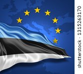 estonia  flag of silk with... | Shutterstock . vector #1315263170