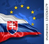 slovakia flag of silk with... | Shutterstock . vector #1315263179