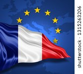 france flag of silk with... | Shutterstock . vector #1315263206