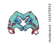 the broken zombie hand makes a...   Shutterstock .eps vector #1315270913