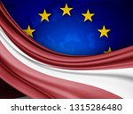 latvia  flag of silk with... | Shutterstock . vector #1315286480