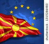 macedonia flag of silk with... | Shutterstock . vector #1315286483