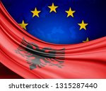 albania flag of silk with... | Shutterstock . vector #1315287440