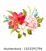 Spring Flowers Bouquet With...