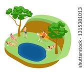 lakeside beach  tan women and... | Shutterstock .eps vector #1315381013