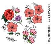 botany. set. vintage flowers.... | Shutterstock .eps vector #1315392089