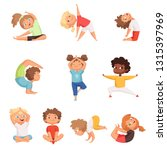 yoga kids characters. fitness... | Shutterstock .eps vector #1315397969