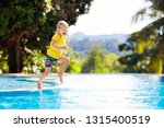 child playing in swimming pool. ...   Shutterstock . vector #1315400519