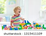 kid playing with colorful toy... | Shutterstock . vector #1315411109