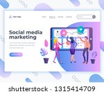 landing page template social... | Shutterstock .eps vector #1315414709