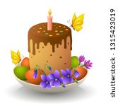 easter cake on a plate with... | Shutterstock .eps vector #1315423019