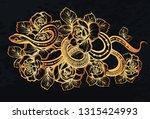 vector illustration  snake and... | Shutterstock .eps vector #1315424993