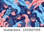 tropical jungle leaves and... | Shutterstock .eps vector #1315427339