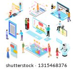 people and app interfaces... | Shutterstock .eps vector #1315468376
