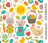 easter seamless pattern with... | Shutterstock .eps vector #1315481933